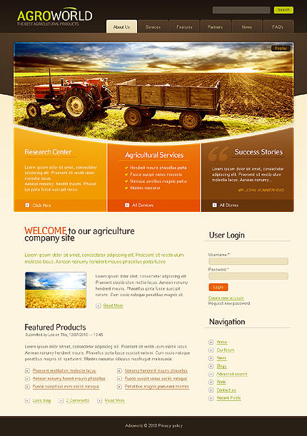 farming website design portfolio food web designs